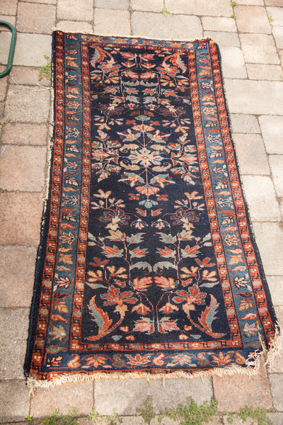 2.5x5 Vintage Navy Blue Lilihan Rug - Old New House