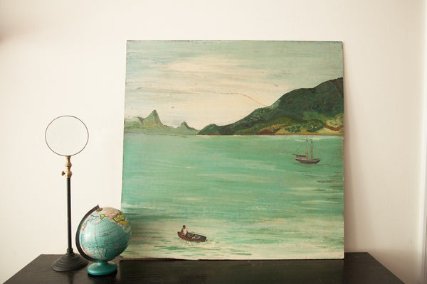 Island Painting with Man on a Little Boat - Old New House