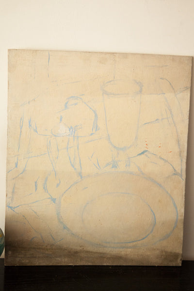Aucello Old Canvas Unfinished Still Life - Old New House