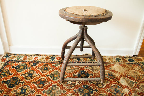 Victorian Antique Industrial Wooden Stool - Old New House