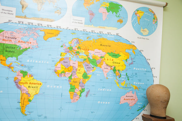 Nystrom World Map.Vintage 90 S Nystrom World Usa Pulldown Map Kids Room