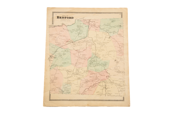 Antique Bedford NY Westchester Map - Old New House