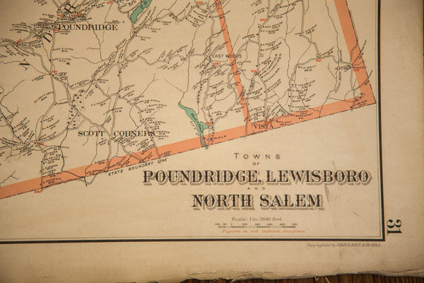 Antique 19th Century Julius Bien Pound Ridge Scotts Corners NY Map - Old New House