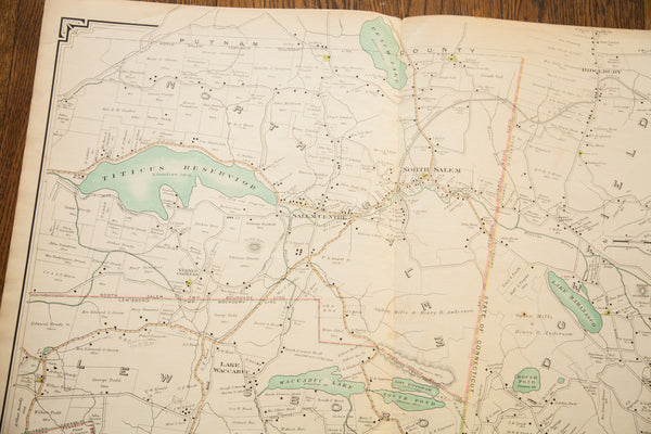 Antique Ridgefield CT Bedford NY Map