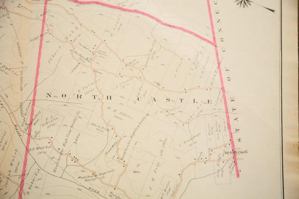 Antique Bedford NY Map - Old New House