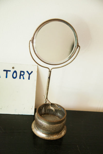 Antique Lightweight Shaving Mirror on Stand With Brush - Old New House