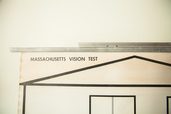 Vintage 1940's Massachusetts Vision Test Snellens Eye Chart - Old New House