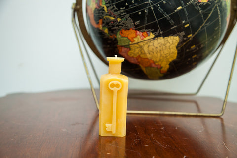Antique Bottle Beeswax Candle Collection Skeleton Key