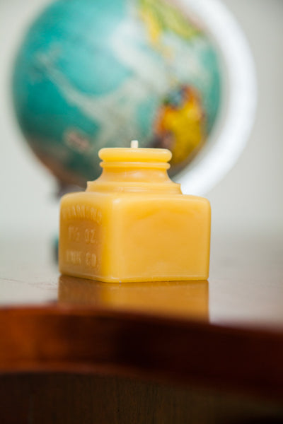 Antique Bottle Beeswax Candle Collection Diamond Ink Jar Small - Old New House