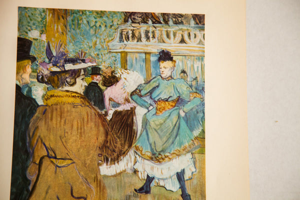 Mid Century Vintage Toulouse Lautrec Quadrille Moulin Rouge Print - Old New House