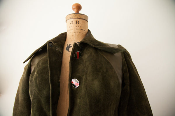 Rare Vintage 1970s Gucci Designer Suede Leather Coat - Old New House