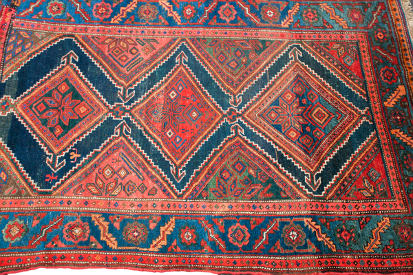 4x6 Blue And Red Antique Tribal Area Rug Onh Antique