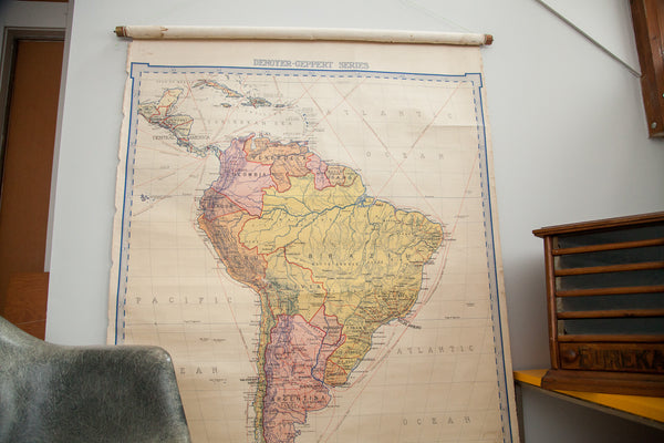 Vintage Denoyer Geppert 1919 South America Pull Down Map - Old New House