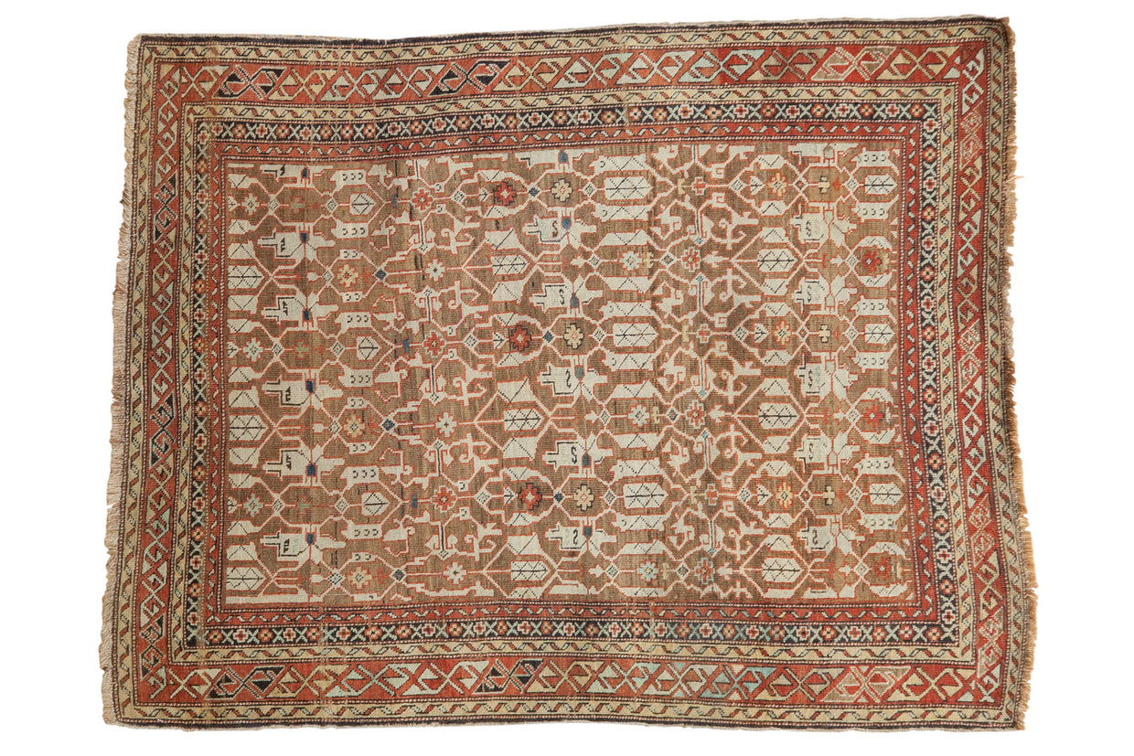 3.5x4.5 Antique Caucasian Rug // ONH Item 1887
