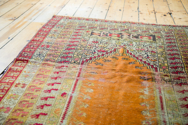 4x5.5 Vintage Distressed Turkish Orange Prayer Rug - Old New House
