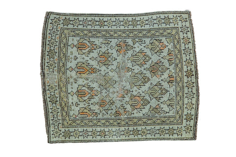 Antique Caucasian Square Rug Mat