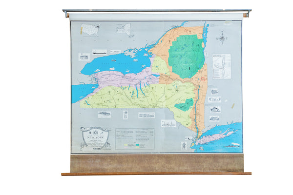 Vintage Pull Down Map of New York State - Old New House