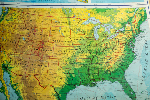 Rand McNally Vintage Pull Down Map of United States - Old New House