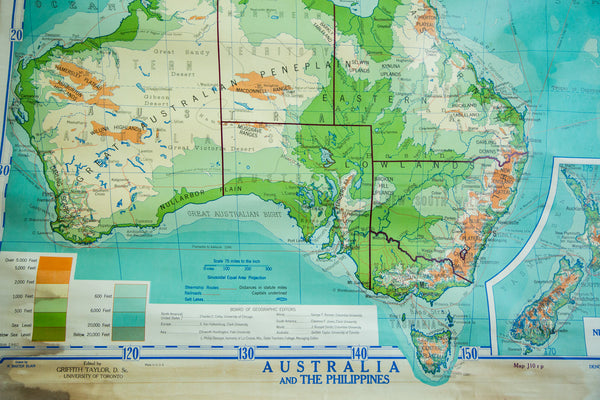 Vintage 1940s Denoyer Geppert Pull Down Map of Australia and Phillipines - Old New House