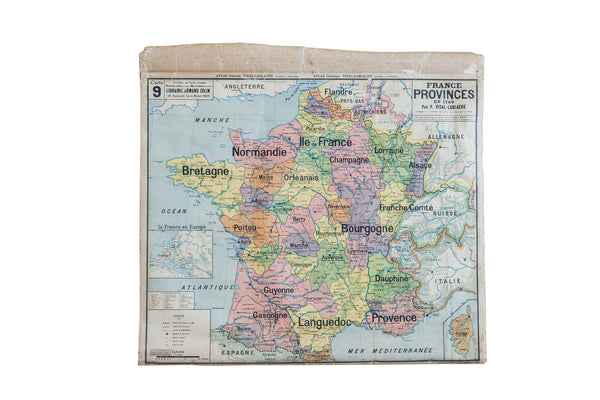 Antique Pull Down Map Of France - Old New House