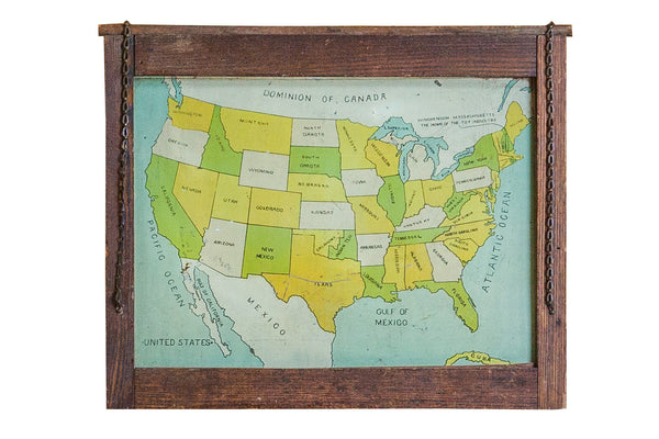 Antique Map Folk Art Painting of United States on tin - Old New House