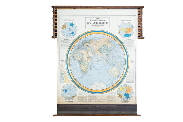 Crams 1938 Edition Pulldown Map Of Eastern Hemisphere - Old New House