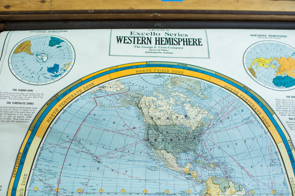 Crams 1938 Edition Pulldown Map Of Western Hemisphere - Old New House