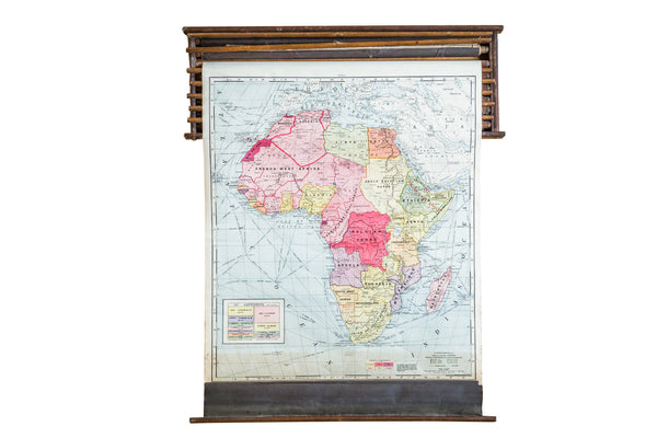 Crams 1938 Edition Pulldown Map Of Africa - Old New House