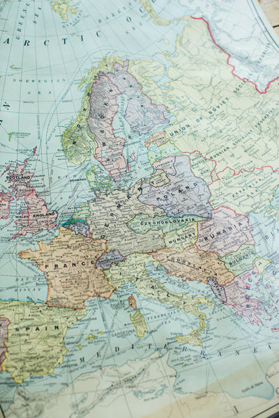 Crams 1938 Edition Vintage Pulldown Map Of Europe - Old New House