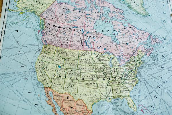Crams 1938 Edition Vintage Pulldown Map Of North America - Old New House