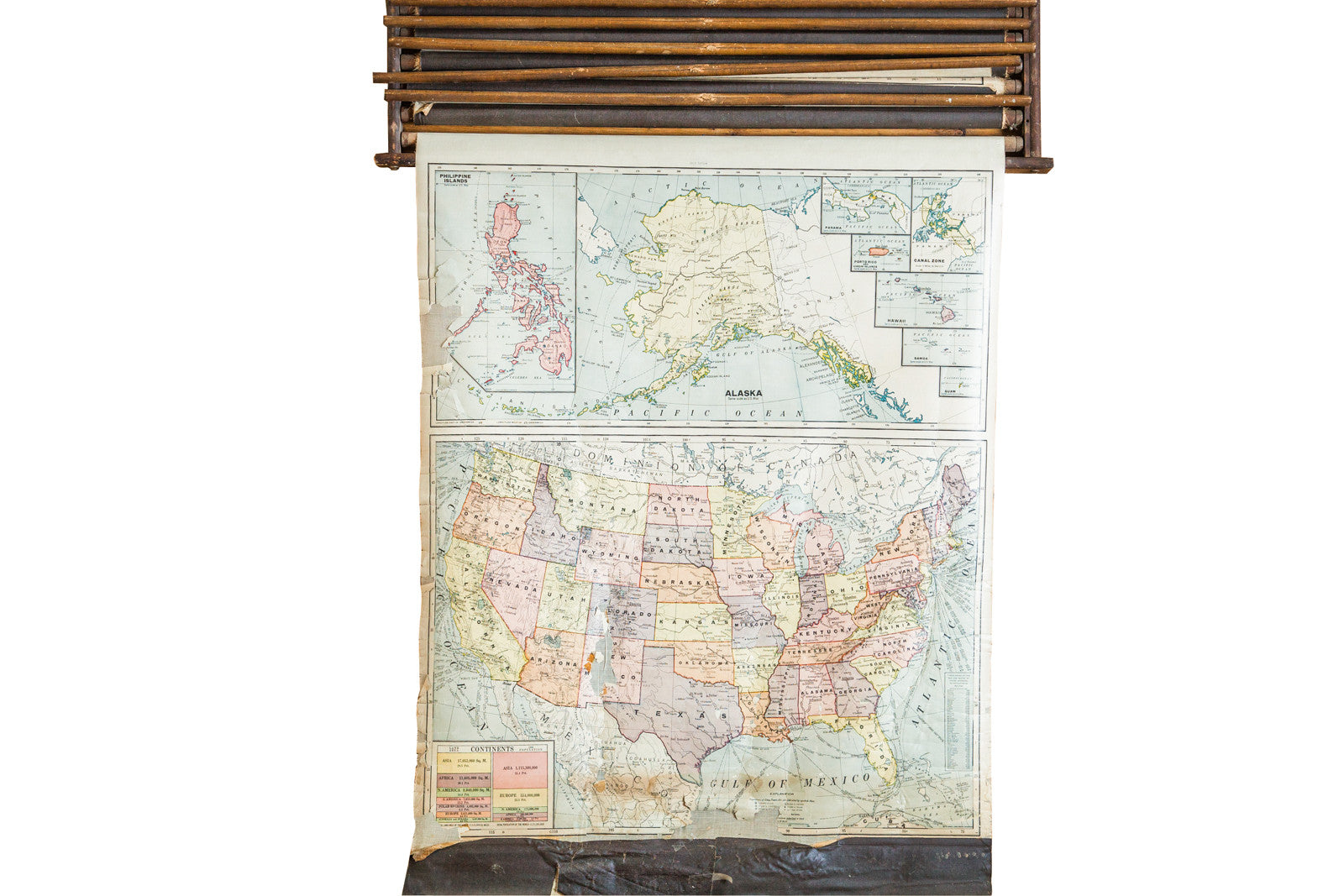 Crams 1938 Edition Vintage Pulldown Map Of United States