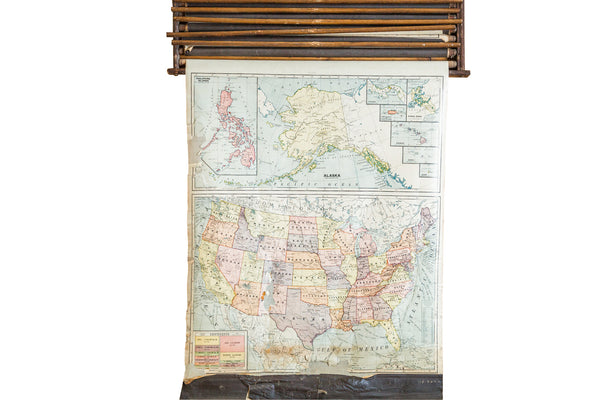 Crams 1938 Edition Vintage Pulldown Map Of United States - Old New House