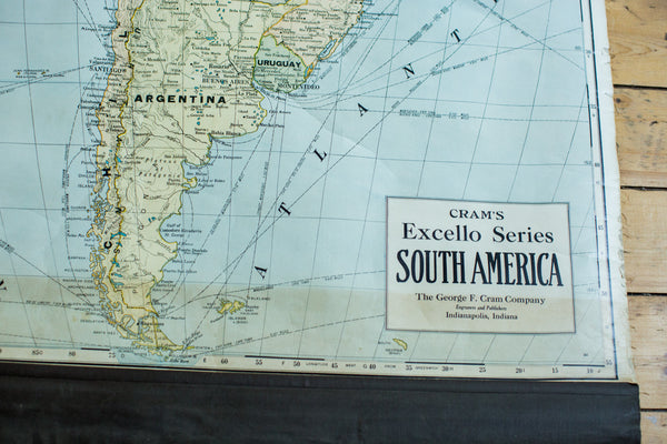 Crams 1938 Edition Vintage Pulldown Map Of South America - Old New House