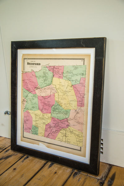 Framed Antique Bedford NY Map - Old New House