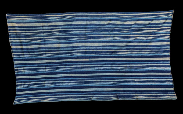 3x5.5 Indigo Blue Striped Textile - Old New House