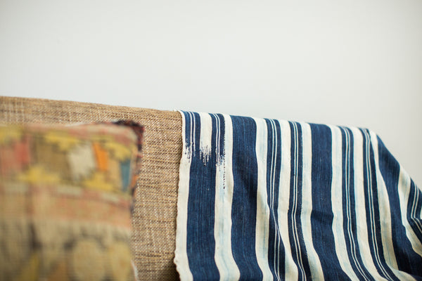 Vintage Indigo Stripe Throw - Old New House