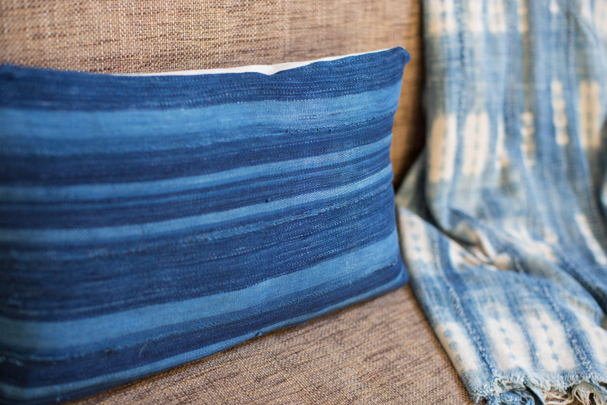 Dark Blue Striped Indigo Lumbar Pillow - Old New House