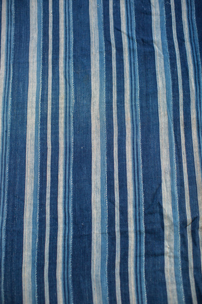 3.5x5 Indigo Blue Striped Textile - Old New House