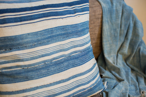 24x24 Light Striped Indigo Large Pillow - Old New House