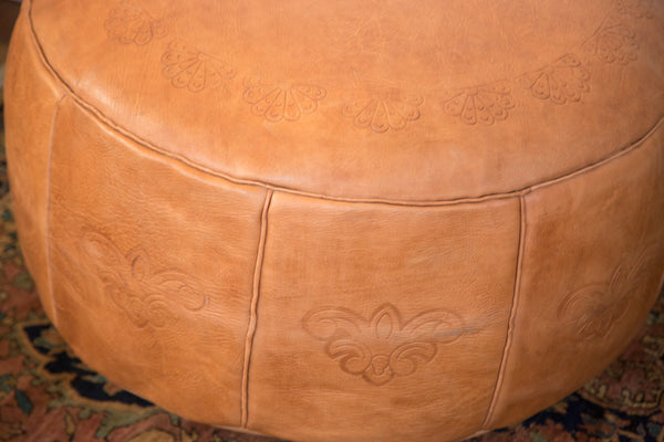 Antique Revival Leather Moroccan Pouf Ottoman - Camel Brown - Old New House