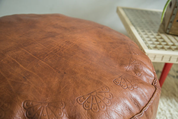 Antique Revival Leather Moroccan Pouf Ottoman - Natural Brown - Old New House