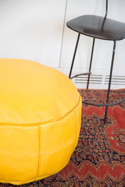 Antique Revival Leather Moroccan Pouf Ottoman - Fly Yellow - Old New House
