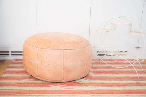 Antique Revival Leather Moroccan Pouf Ottoman - Nude - Old New House