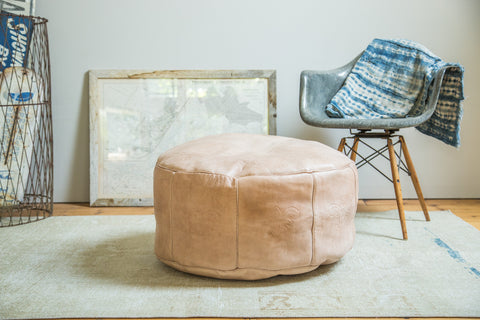 Nude Bohemian Style Large Leather Pouf Ottoman