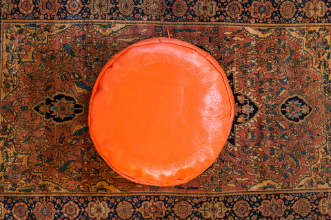 Antique Revival Leather Moroccan Pouf Ottoman - Tangerine Orange - Old New House