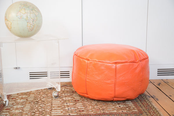... Antique Revival Leather Moroccan Pouf Ottoman - Tangerine Orange - Old  New House ... - Antique Revival Leather Moroccan Pouf Ottoman - Tangerine Orange
