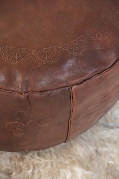 Antique Revival Leather Moroccan Pouf Ottoman - Dark Whiskey - Old New House