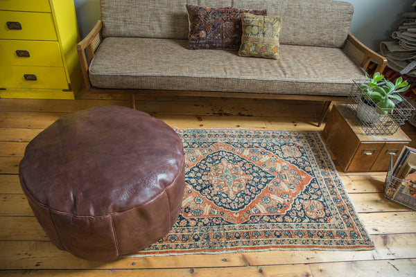 Antique Revival Leather Moroccan Pouf Ottoman - Whiskey Brown - Old New House