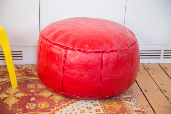 Antique Revival Leather Moroccan Pouf Ottoman - Cherry Red - Old New House