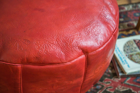 Antique Revival Leather Moroccan Pouf Ottoman - Cranberry Red - Old New House